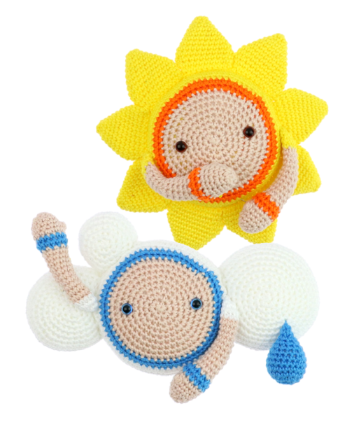 Sun Zuzu and Cloud Kirk crochet pattern by Zabbez