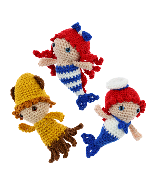 Mini Mermaid Merman Squid crochet pattern by Zabbez