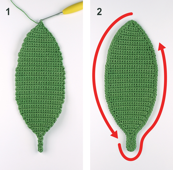 crochet leaf board steps 1 2