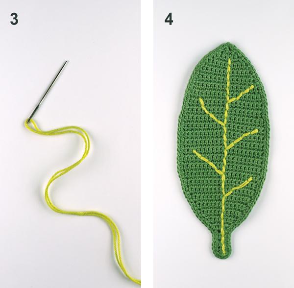 crochet leaf board steps 3 4